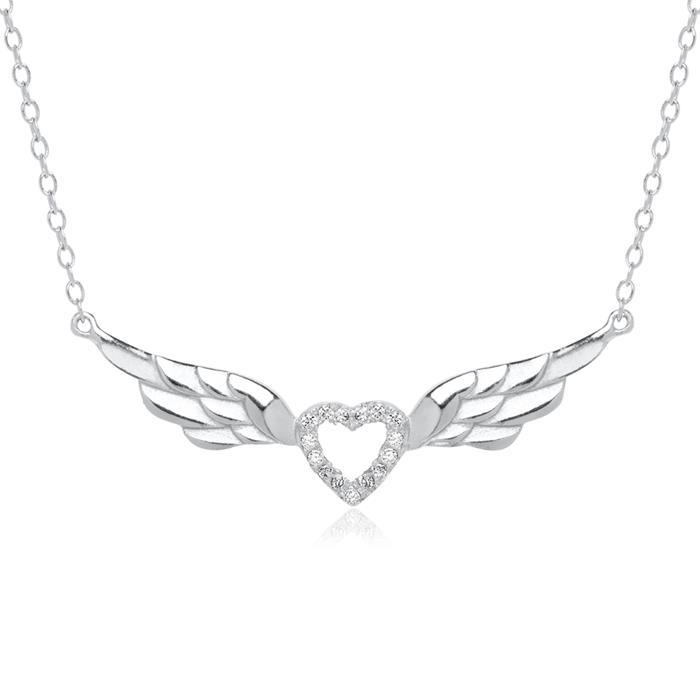 Kette geflügeltes Herz aus 925er Silber mit Zirkonia