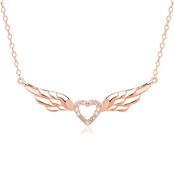 Herzkette aus 925er Silber rosévergoldet mit Zirkonia