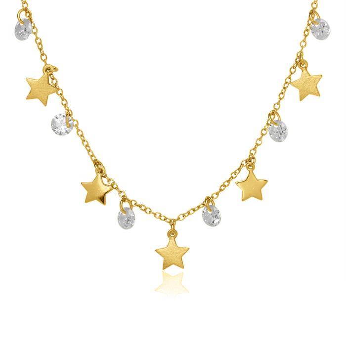 Sternenkette aus vergoldetem Sterlingsilber Zirkonia