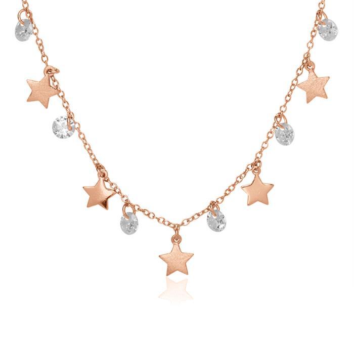 Kette Sterne aus 925er Silber rosévergoldet Zirkonia