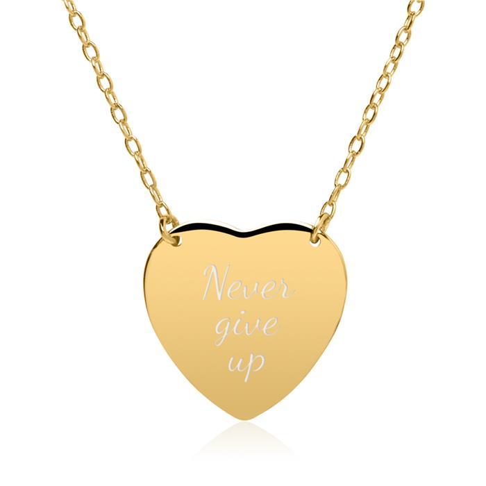Gravur Kette Herz aus vergoldetem 925er Silber
