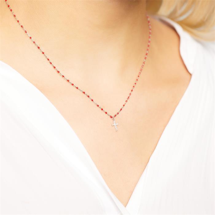 925er Silberkette Kreuz mit roter Emaille