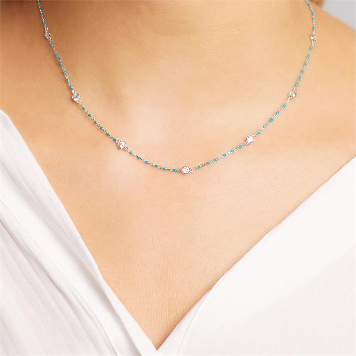 Halskette aus 925er Silber türkiser Emaille Zirkonia