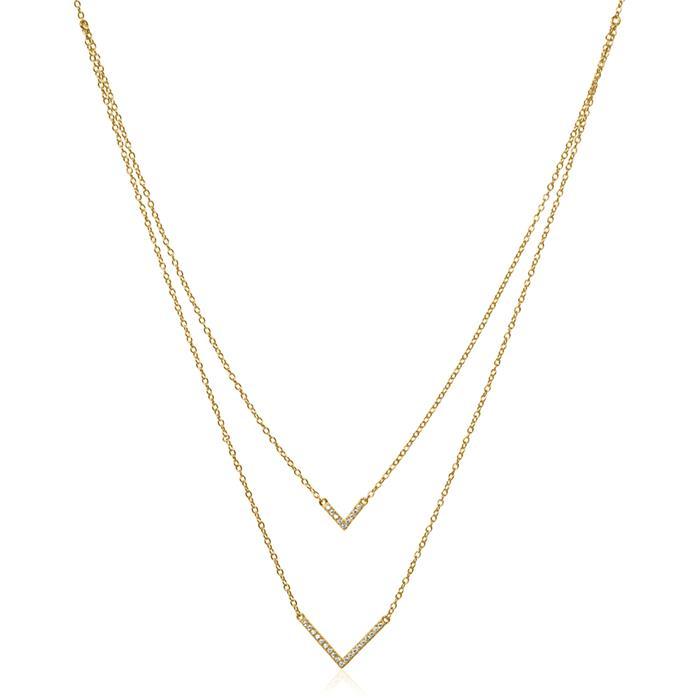 Kette V aus vergoldetem 925er Silber mit Zirkonia