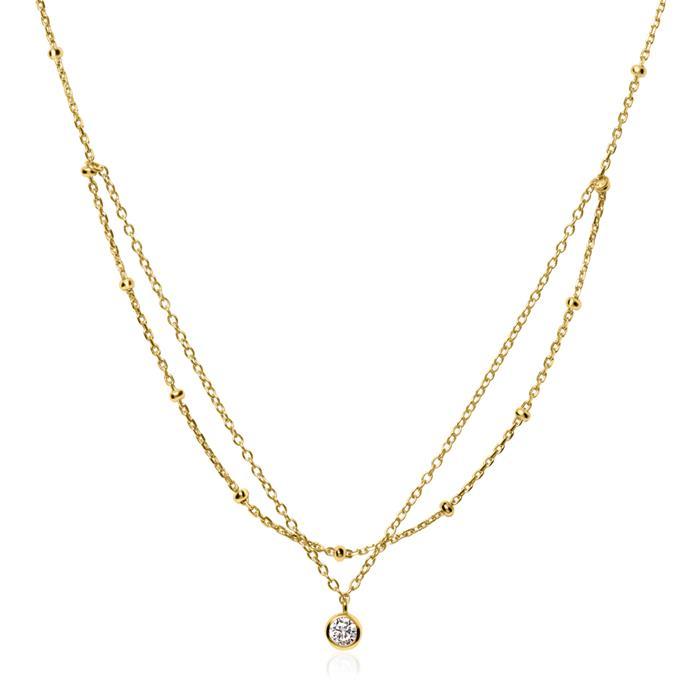 Layerkette aus vergoldetem 925er Silber mit Zirkonia