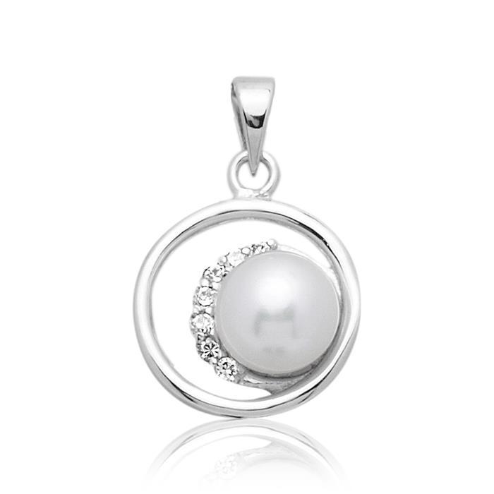 925 Silber Anhänger mit weißer Perle