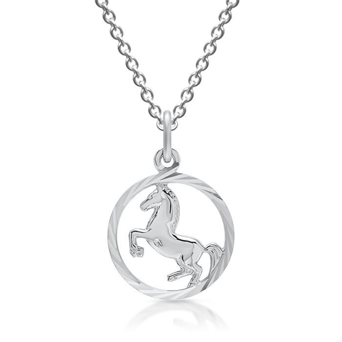 Silber Anhänger & Kette Pferd