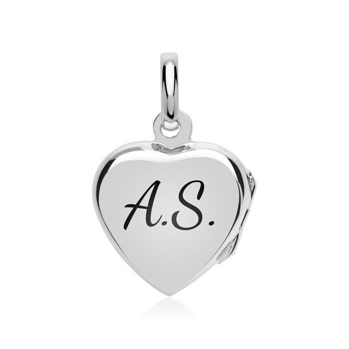 Silberanhänger Herzform Medaillon Verzierung