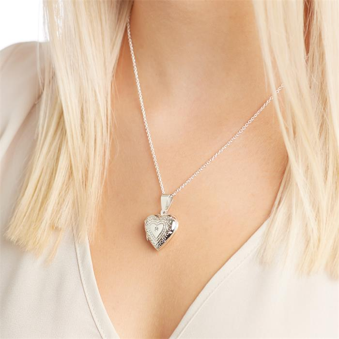Medaillon Herzform Silberanhänger Zirkonia