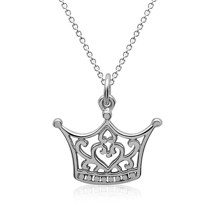 Silberkette inkl. Anhänger Krone