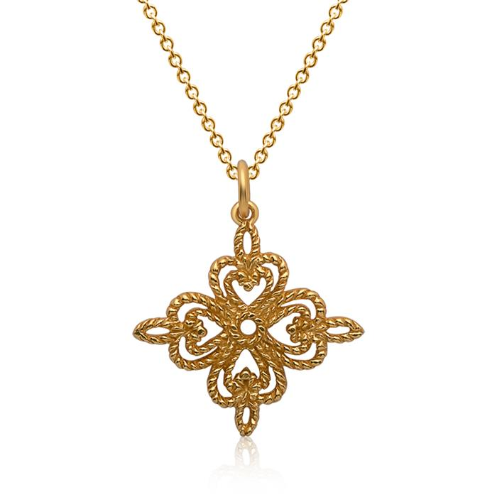 Silberkette vergoldet Anhänger Kleeblatt