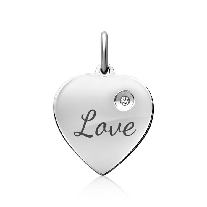 Silberkette Anhänger Herz Zirkonia