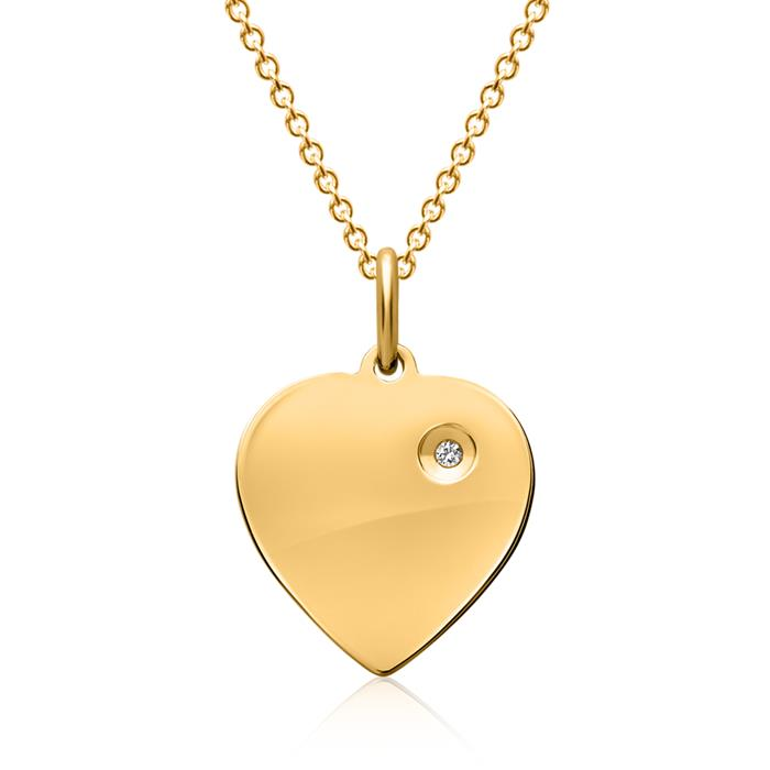 Vergoldete Silberkette inkl. Anhänger Stein