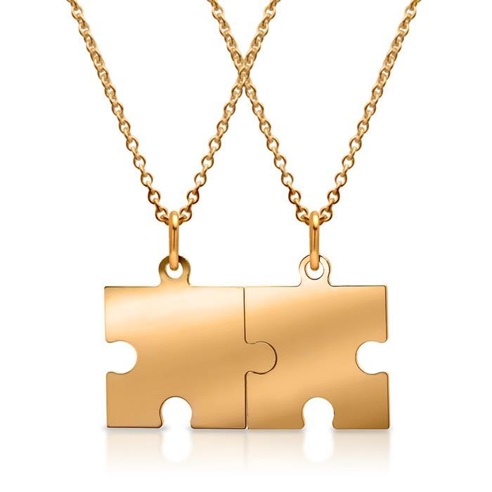 Vergoldeter Silberpartneranhänger Puzzleteil