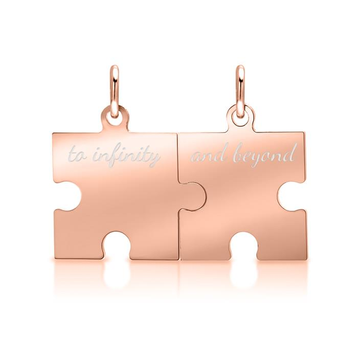 925er Silberkette rosé mit Puzzleanhänger