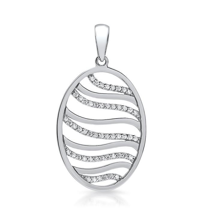925er Silberkette mit ovalem Anhänger