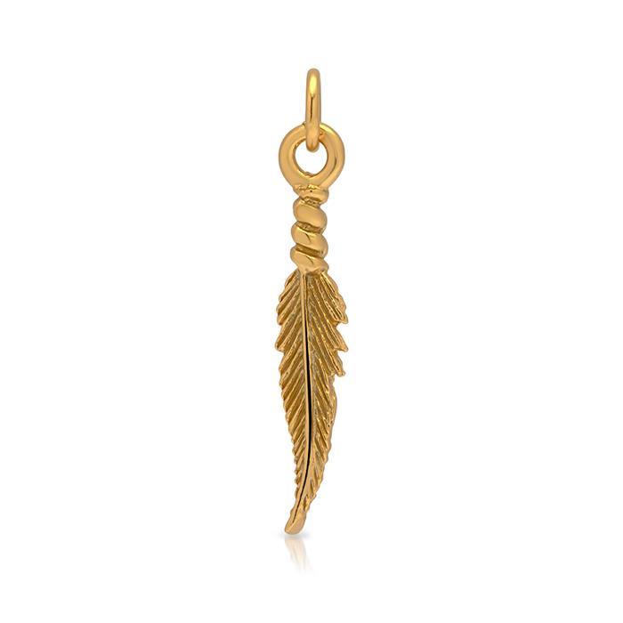 Ankerkette Silber vergoldet mit Blattanhänger