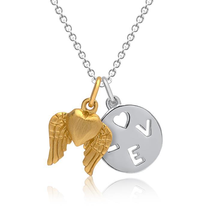 Anhängerset Silber 2-teilig Love-Herzanhänger