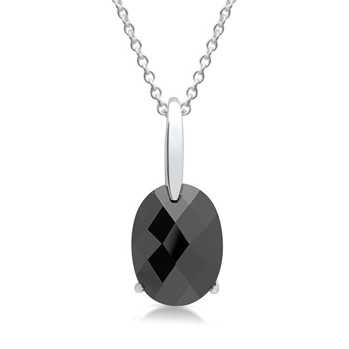 Kette 925er Silber mit schwarzem Glasstein