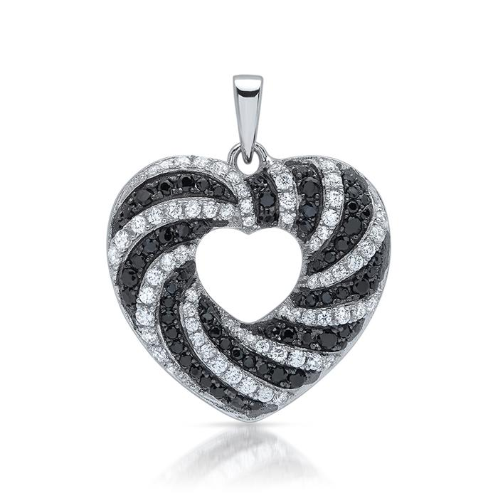 Silberanhänger in Herzform mit Zirkoniabesatz