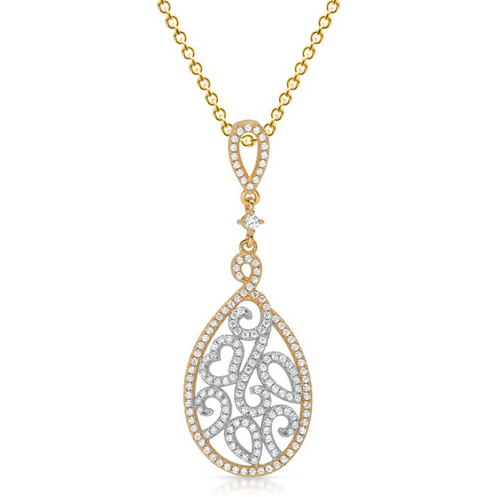 925 Silber Kettenanhänger mit weißen Zirkonia