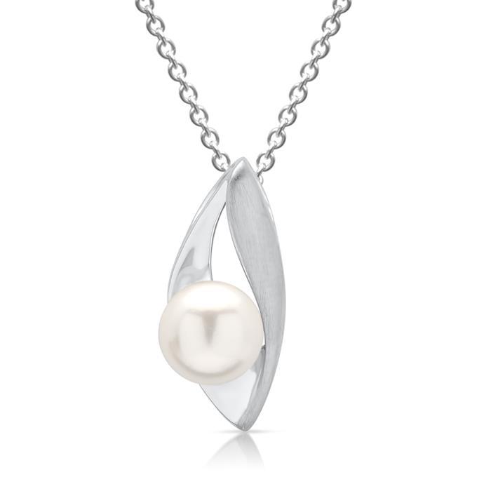 Ankerkette Silber mit Anhänger mit Perle