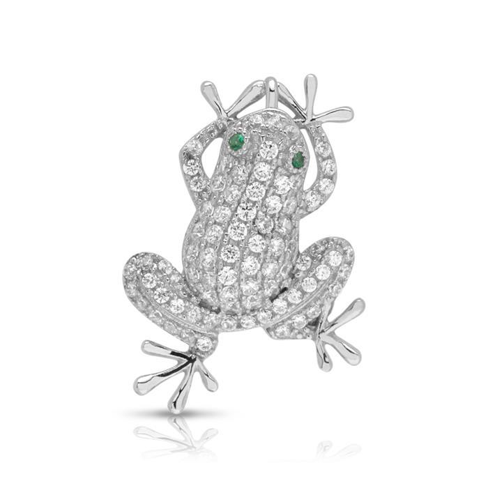 925 Silber Kette Frosch Zirkonia
