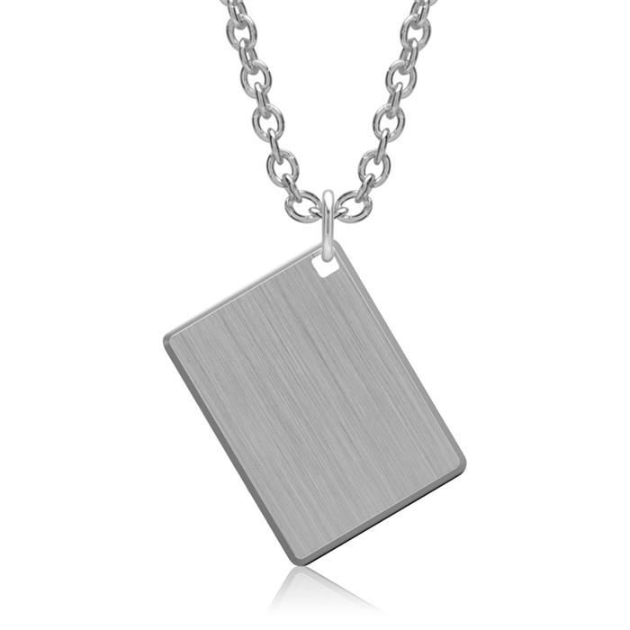 Rechteckiger Anhänger 925er Silber gravierbar