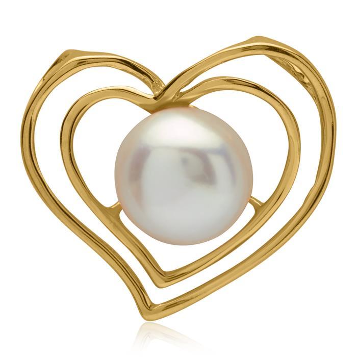 Vergoldeter Herz-Anhänger mit Perle 925er Silber