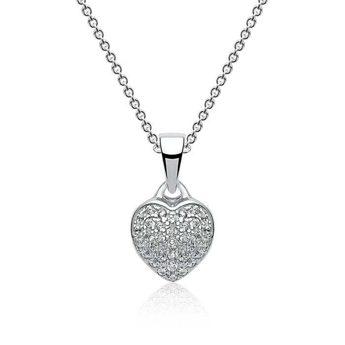 Silberkette mit Herzanhänger Zirkonia