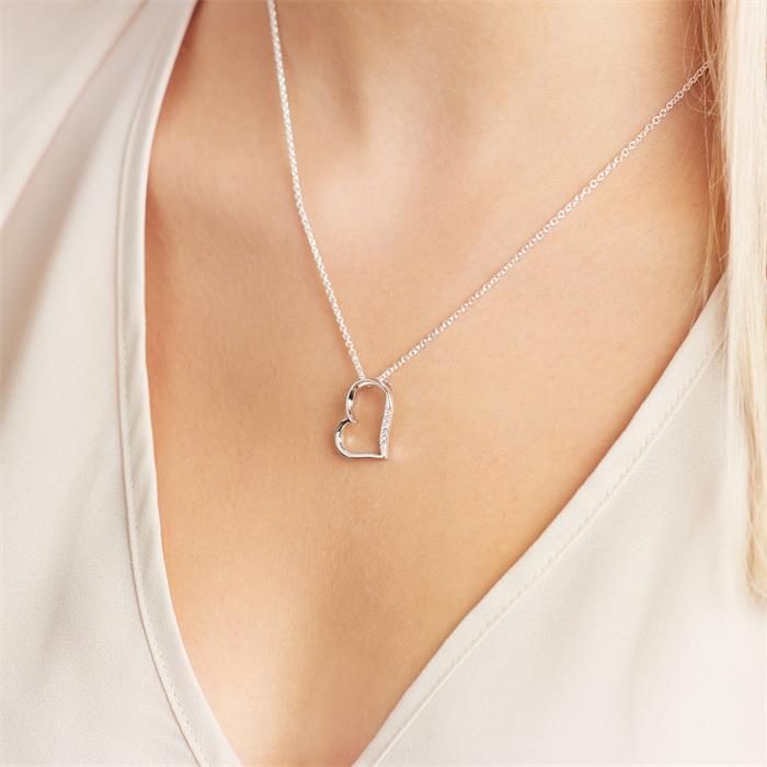 Kette rhodiniert Herzanhänger 925er Silber