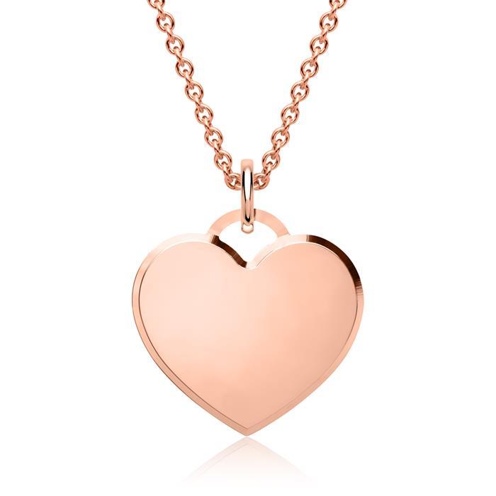 Silber Anhänger Herzform mit Kette in roségold