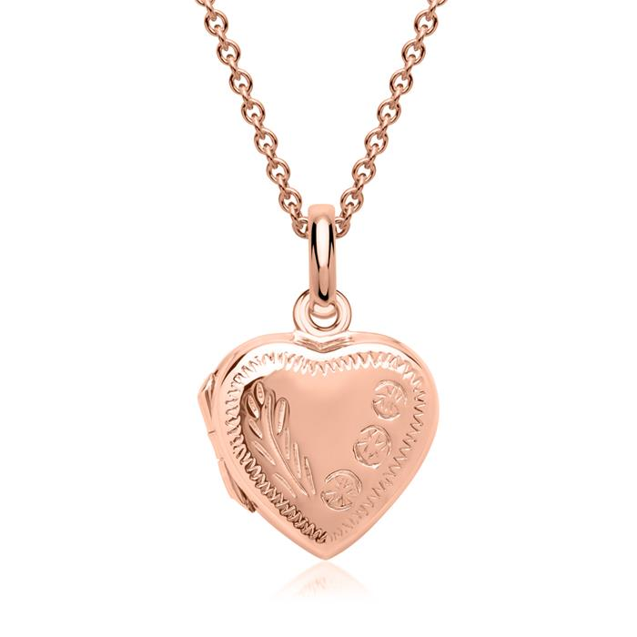 Herz Medaillon Verzierung 925er silber roségold