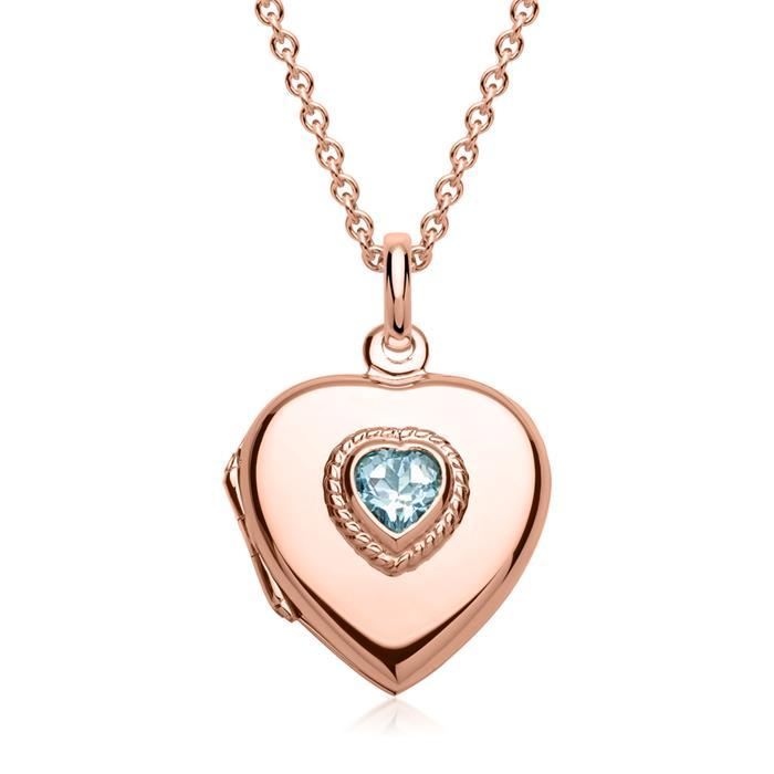 Kette mit Herz-Medaillon mit blauem Stein rosé