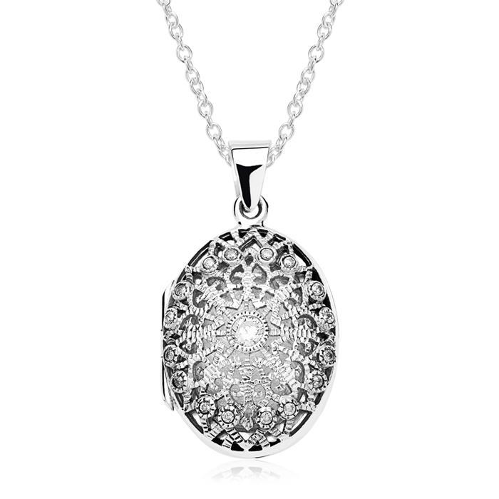 Top 925er Silber Medaillon Gravur inklusive Kette @QS_34