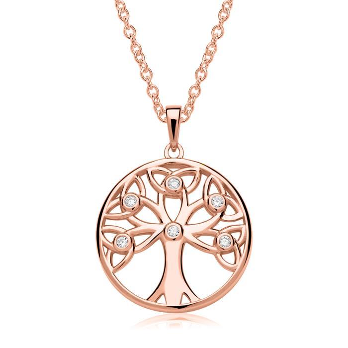 Lebensbaum Anhänger Kette 925er Silber Rosé
