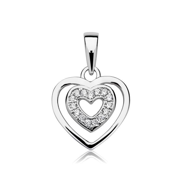 Herz Anhänger 925er Silber Zirkonia