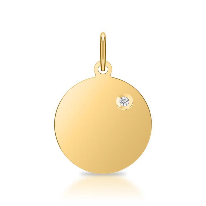 Anhänger Gravur 925er Silber IP-Gold Diamant