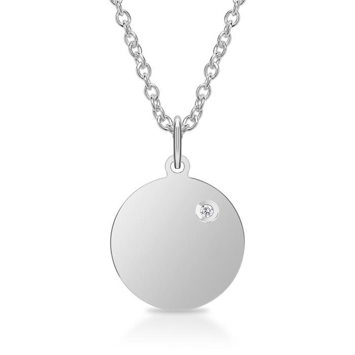 Kette und ID-Anhänger 925er Silber Diamant