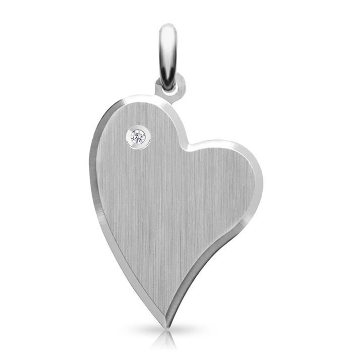 Herzförmiger Sterlingsilber ID-Anhänger Diamant