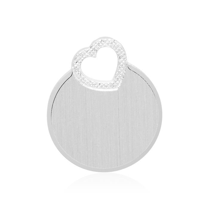 Gravierbarer 925er Silberanhänger rund mit Herz