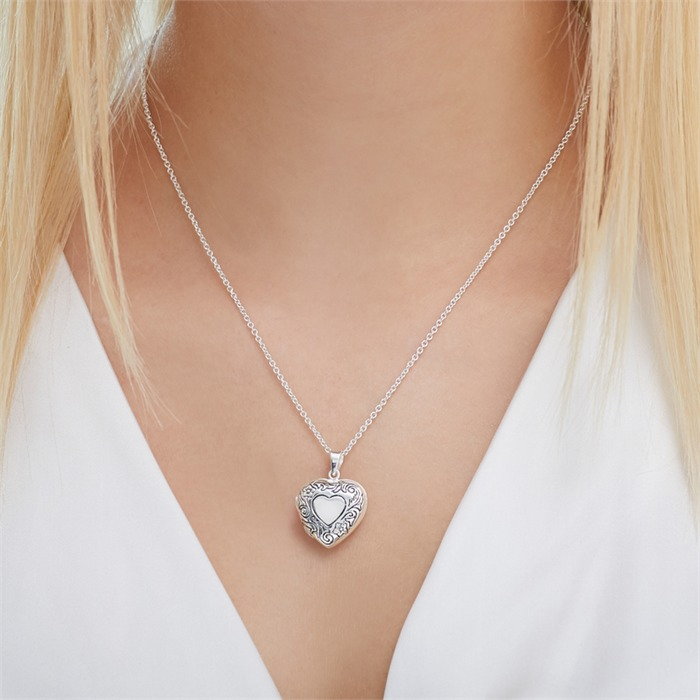 Herzmedaillon aus 925er Sterlingsilber gravierbar