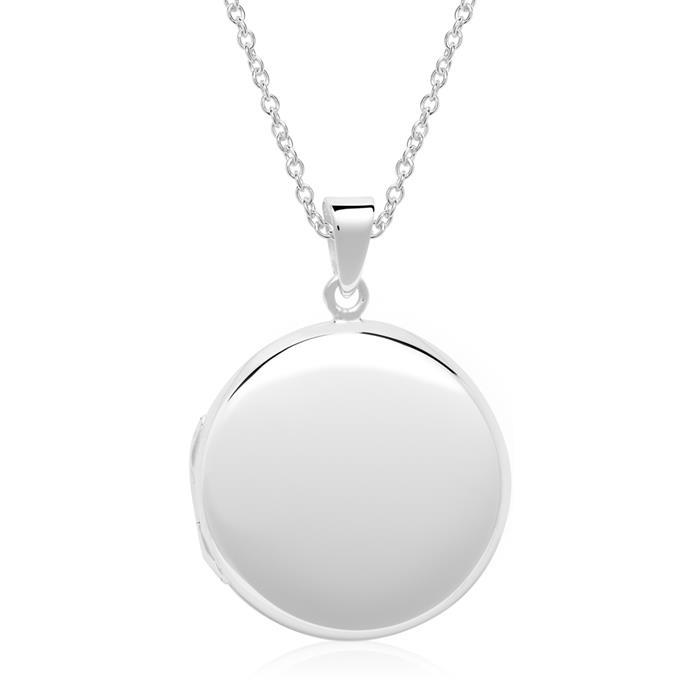 925er Silber Kette mit gravierbarem Medaillon rund