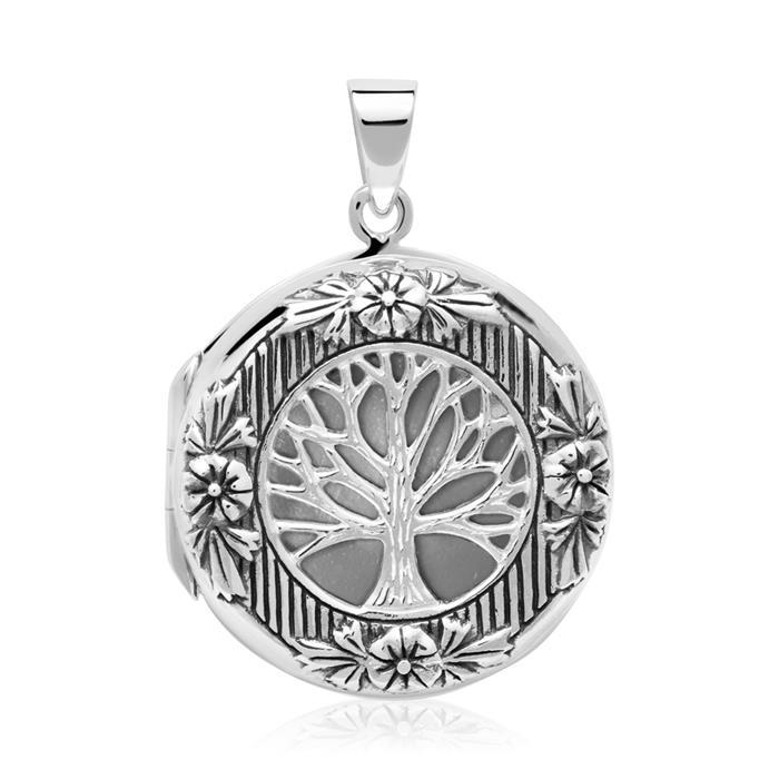 925er Silber Medaillon Kette Lebensbaum Eule gravierbar
