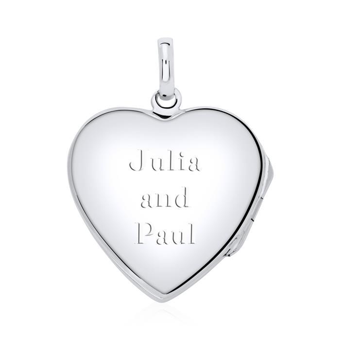 Herz Medaillon Kette Enzian 925er Silber gravierbar