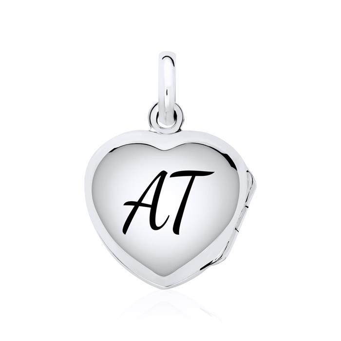 Gravierbares 925er Silber Medaillon Herzen