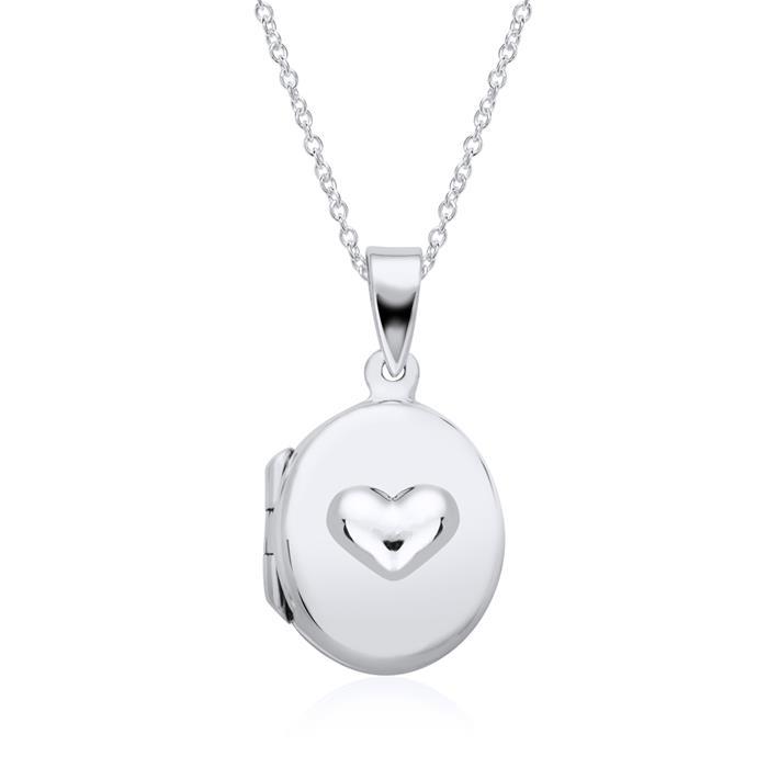 Kette mit Medaillon Herz aus 925er Silber gravierbar
