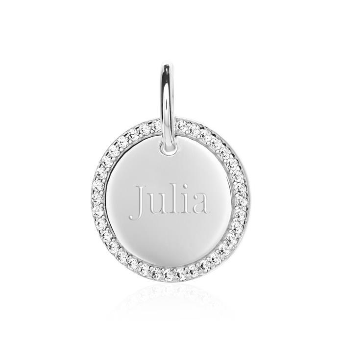 Gravur Anhänger für Damen aus 925er Silber mit Zirkonia