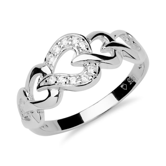 925 Silber Ring mit Herzen und Zirkonia