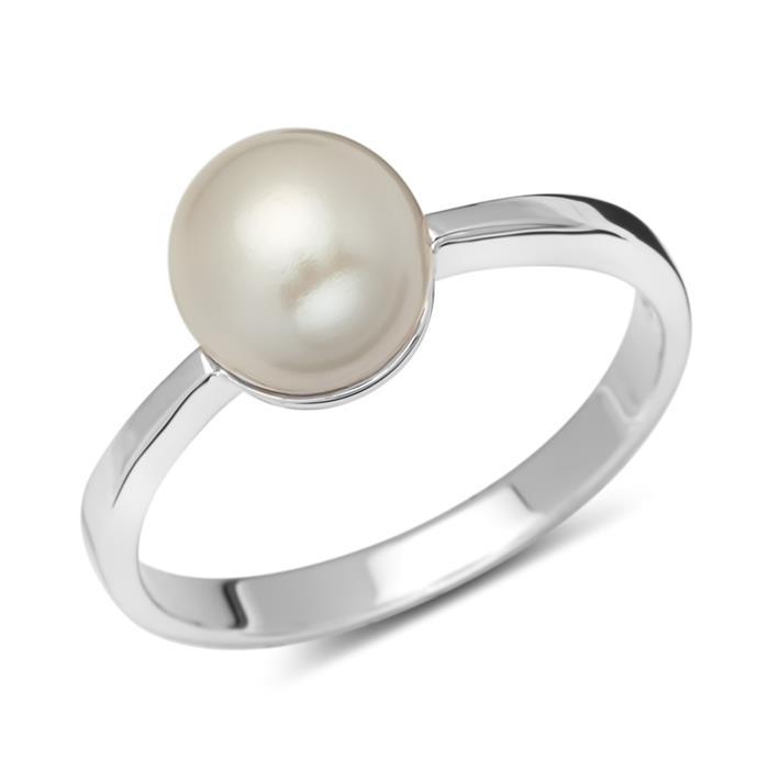 Silberring 925 poliert mit weißer Perle